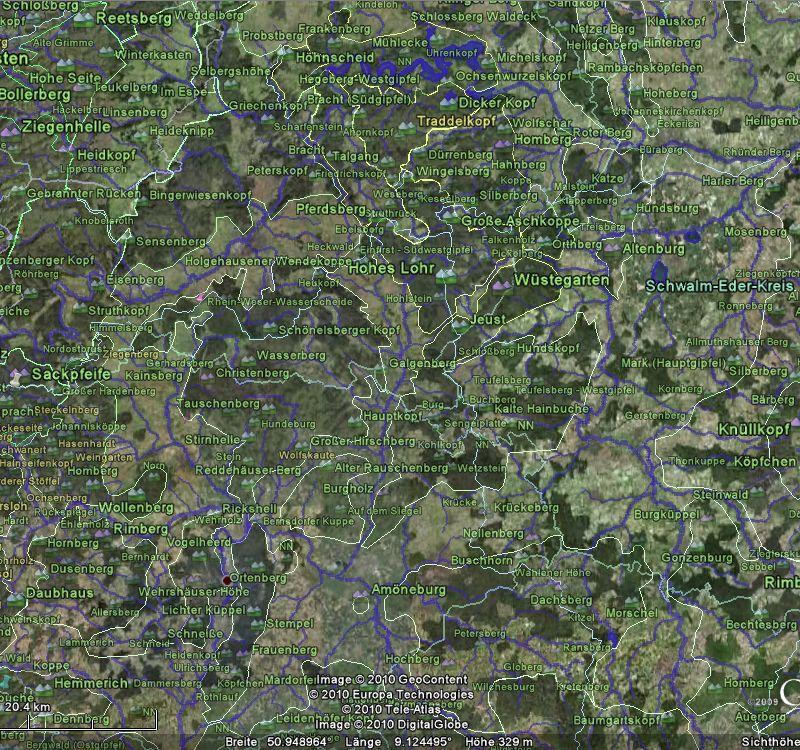 Screenshot von Keller- und Burgwald mit Naturraumgrenzen und Erhebungen
