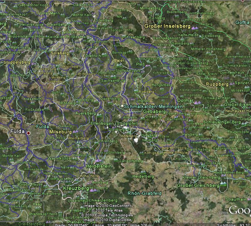 Screenshot von der Rhön mit allen Grenzen und nur den bedeutendsten Erhebungen