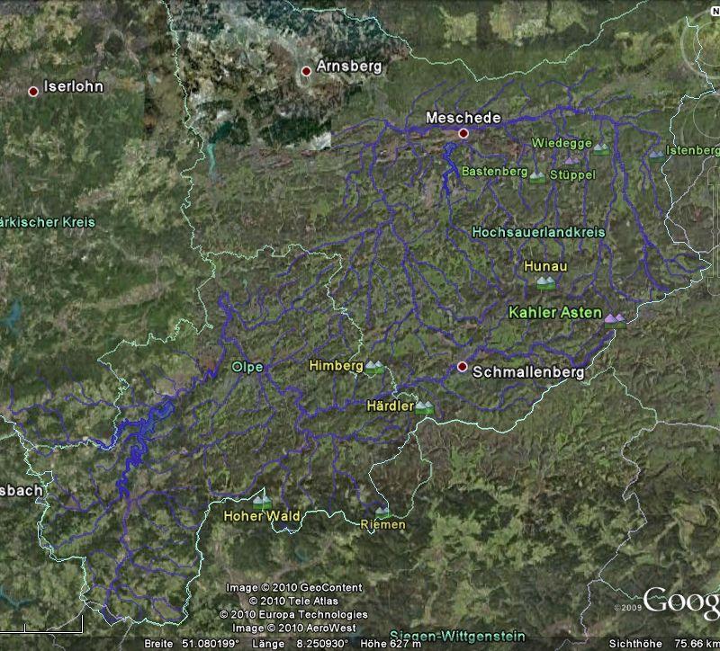 Screenshot des Systems der Ruhr mit Randbergen
