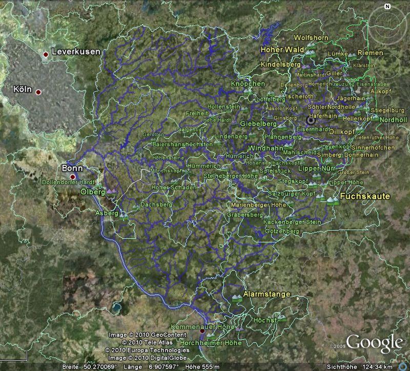 Screenshot des Systems der Sieg (nebst Wied) mit Randbergen